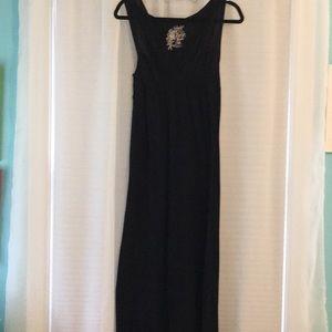 Black Poof!  maxi, racerback, v neck dress